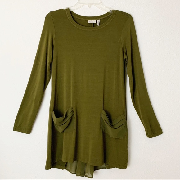 LOGO by Lori Goldstein Olive Green Tunic Blouse